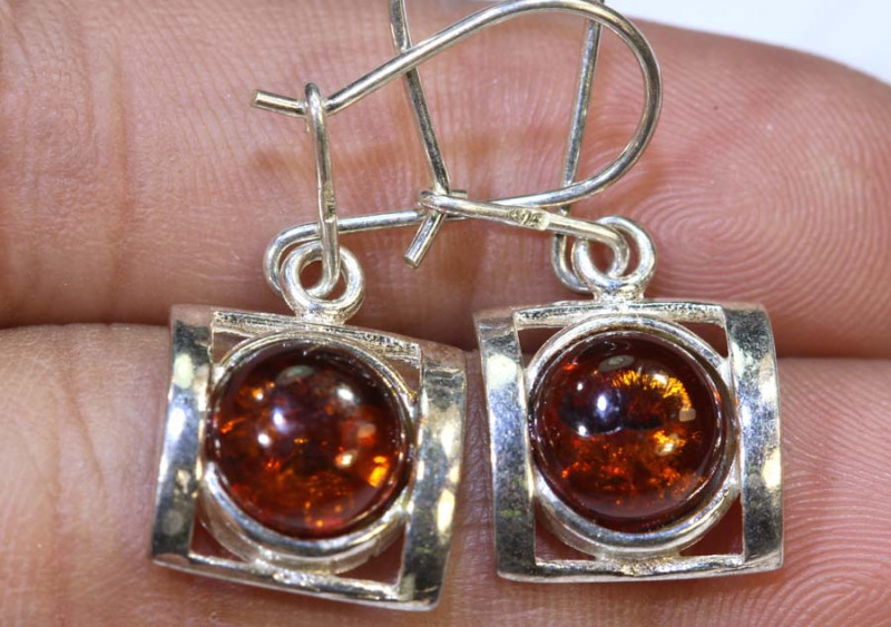 18.25 CTS AMBER SILVER EARRINGS  SG-2107