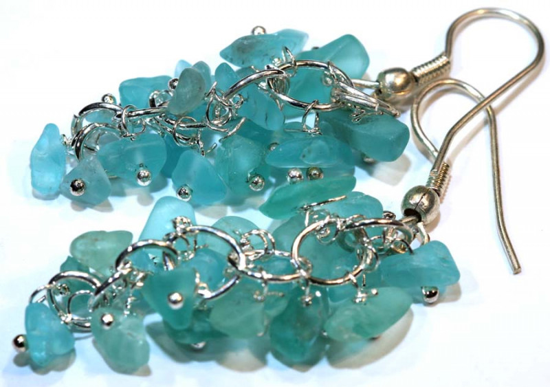 49.95CTS APATITE EARRINGS NEON BLUE UNTREATED SG-2292