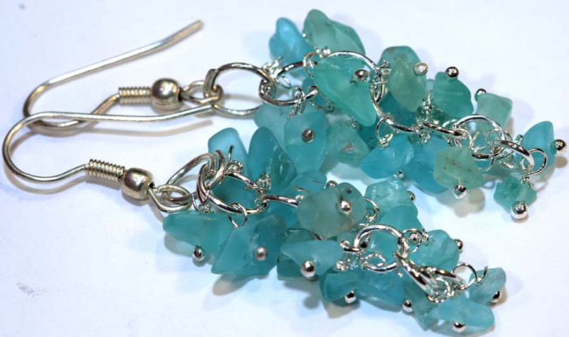 49.95CTS APATITE EARRINGS NEON BLUE UNTREATED SG-2294