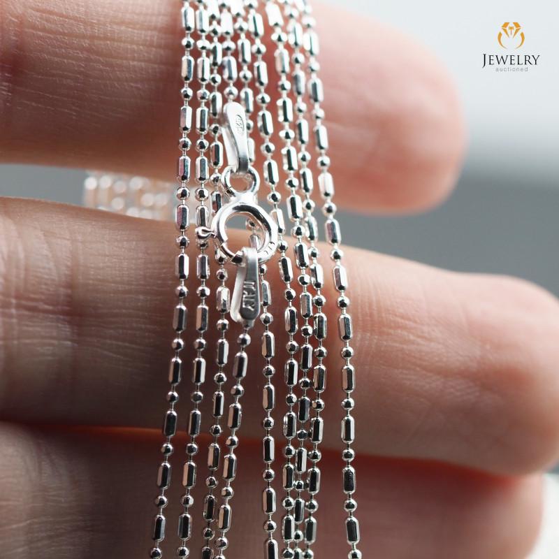 18 Inch, 45 cm 0.9 x0.9    mm Long Ball & Bead  Silver chain . AM 982