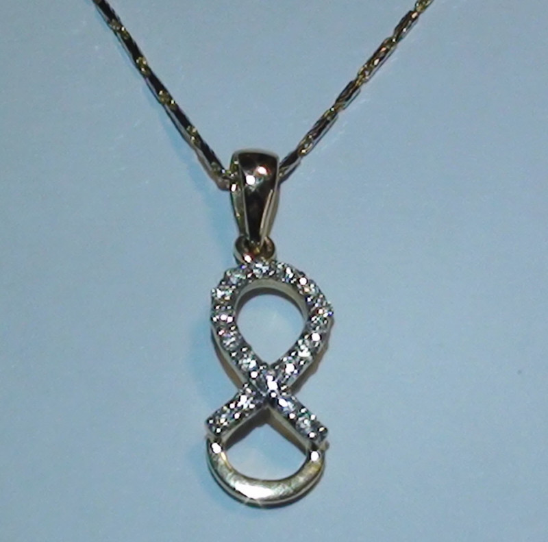 Stunning 14 k Solid Yellow Gold Infinity Genuine Diamond Pendant