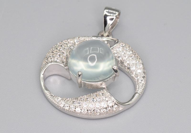 Natural Prehnite Silver Pendant With Cubic Zircon