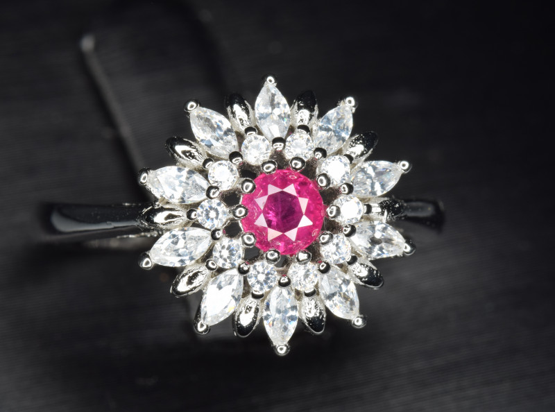 Natural Heated Ruby With Cubic Zircon Silver Ring