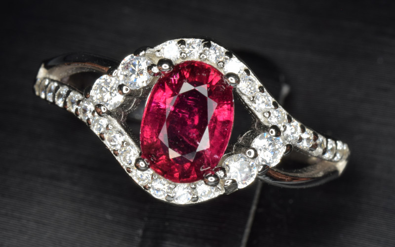 Natural Rubellite With Cubic Zircon Silver Ring