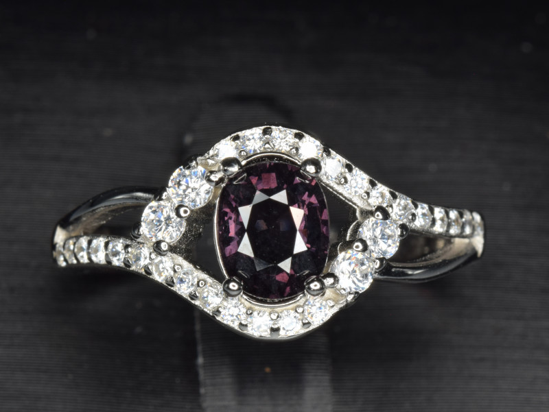 Natural Burma Un Treated Spinel  With Cubic Zircon Silver Ring