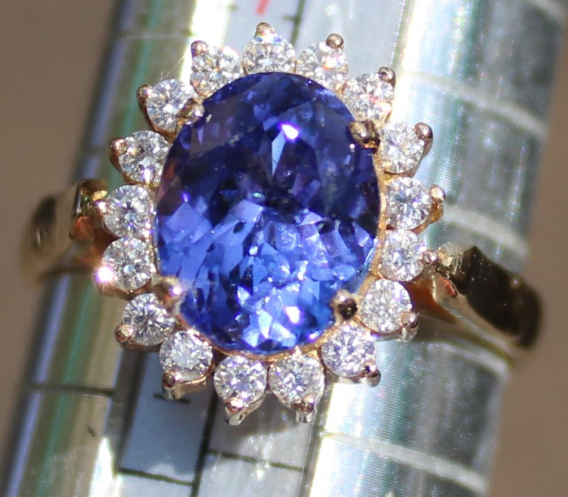 Tanzanite 3.49ct Diamonds Solid 18K Yellow Gold Ring,Natural,Certified,Appr
