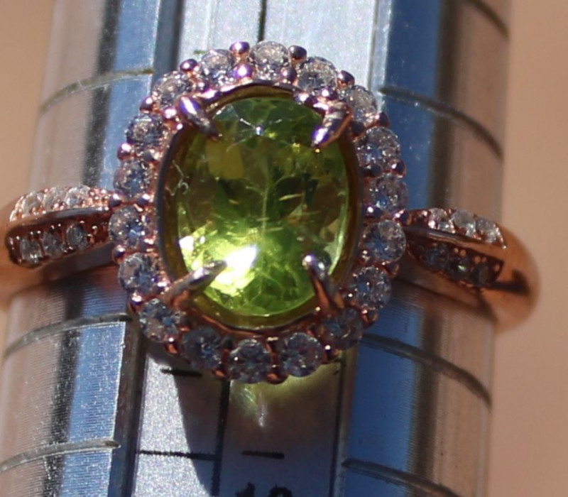 Peridot 1.45ct, Solid Sterling Silver Ring, Rose Gold Finish, Natural, Oval