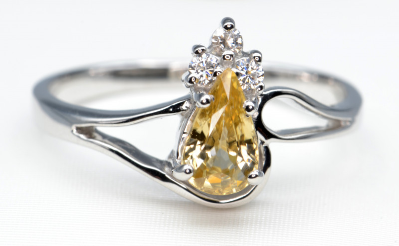 Natural Zircon and Silver Ring