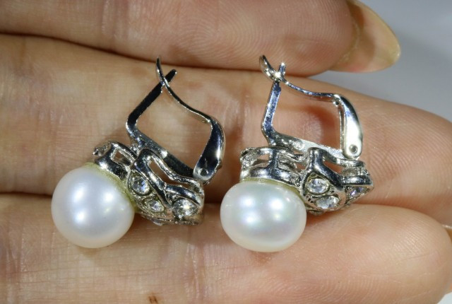 9x9 mmFresh water Pearl French clasp  Earring  AM 1043