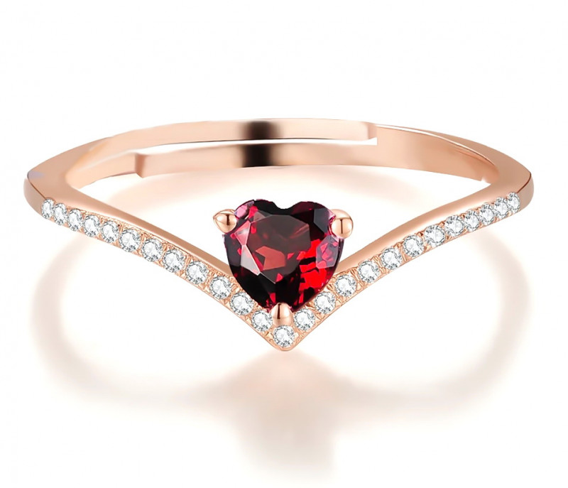 8 Ct Natural Reddish Heart Cut Transparent Garnet Gemstone Ring 925 Sterlin