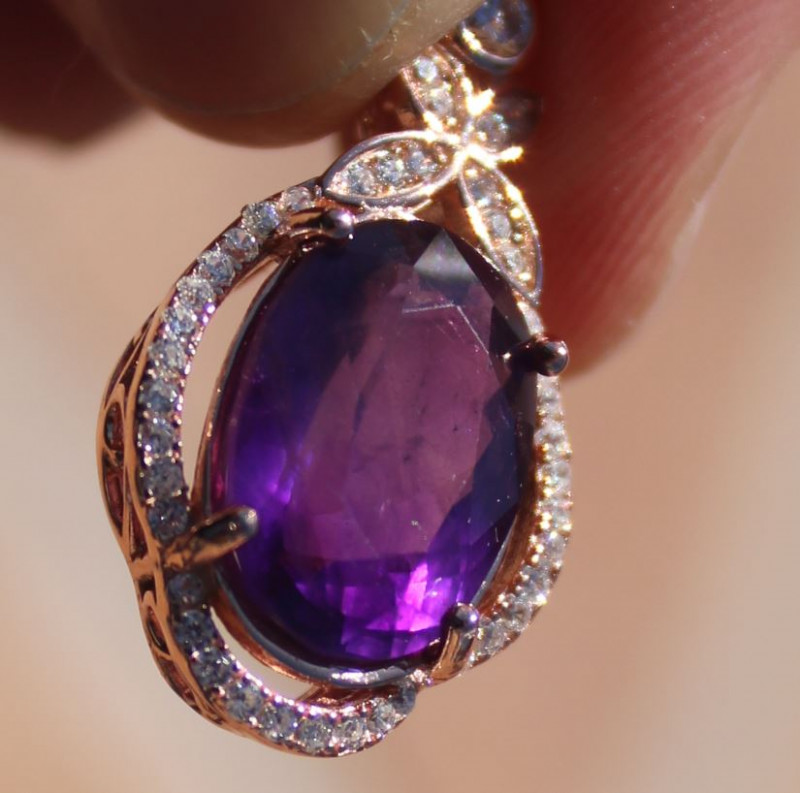 Amethyst 4.65ct, Solid 925 Sterling Silver, Rose Gold Finish Pendant, Natur