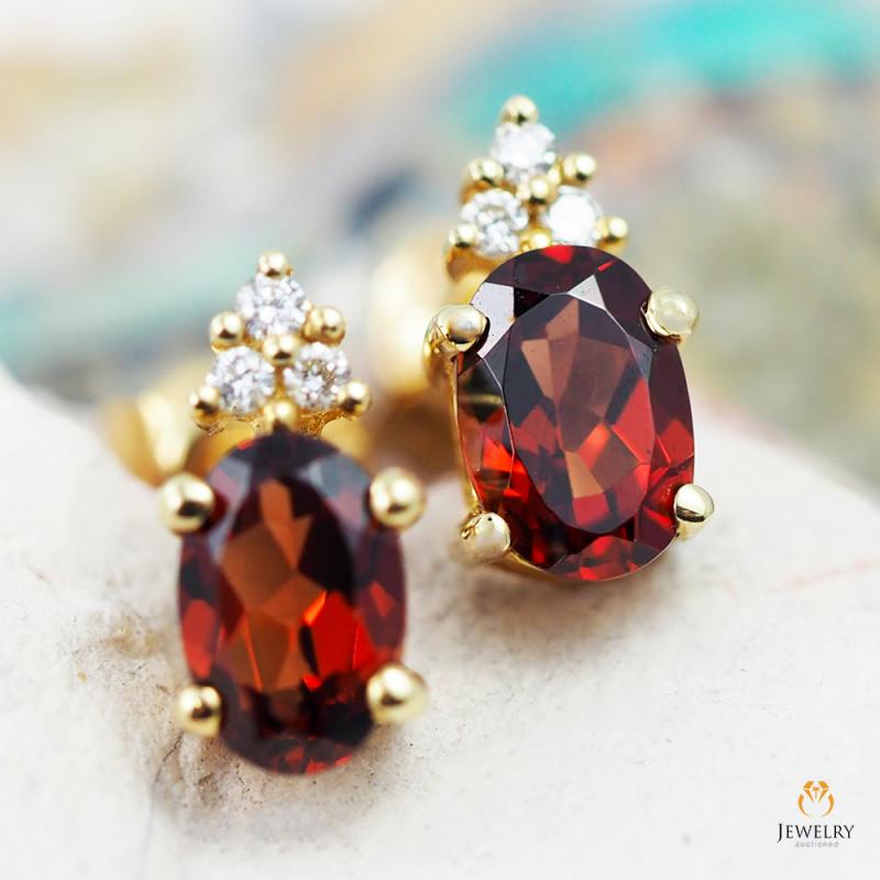 14 K Yellow Gold Garnet & Diamond Earrings - 38 - D E9798 2050 G