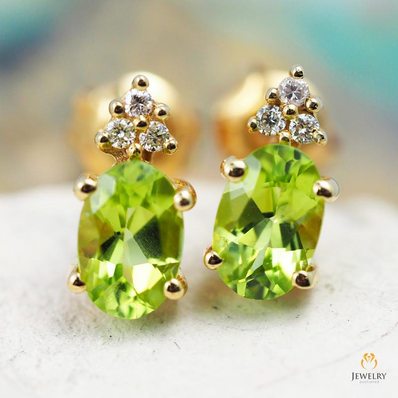 14 K Yellow Gold Peridot & Diamond Earrings - 39 - D E9798 2050 P
