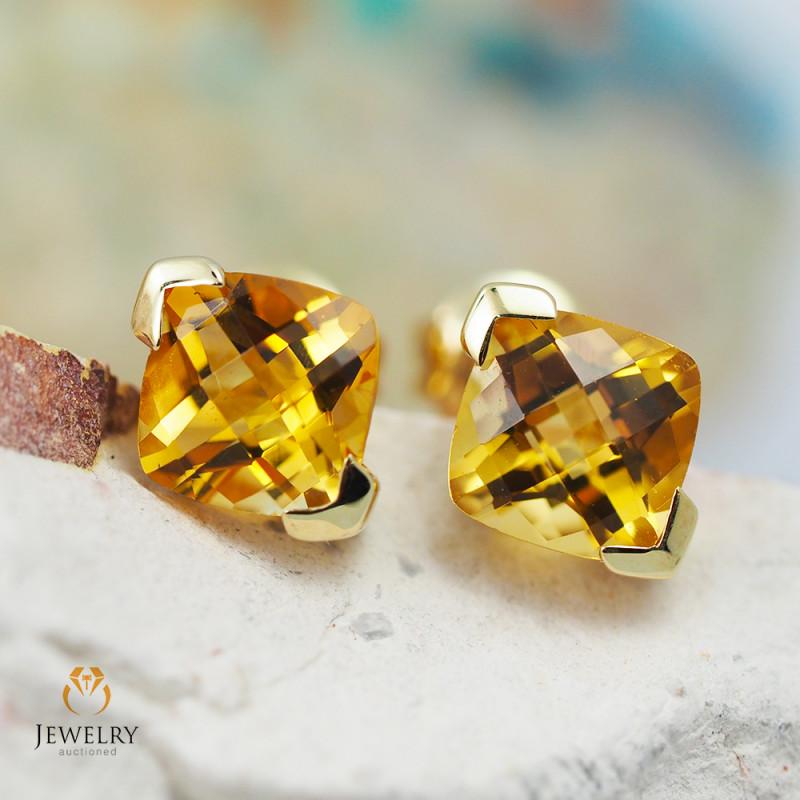 14 K Yellow Gold Citrine Earrings - 44 - D E3886 1650