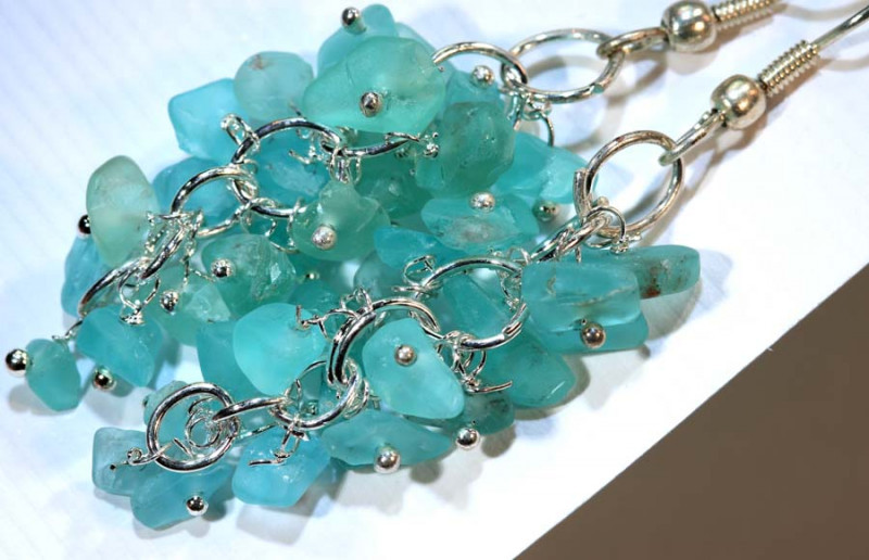 49.95CTS APATITE EARRINGS NEON BLUE UNTREATED SG-2307