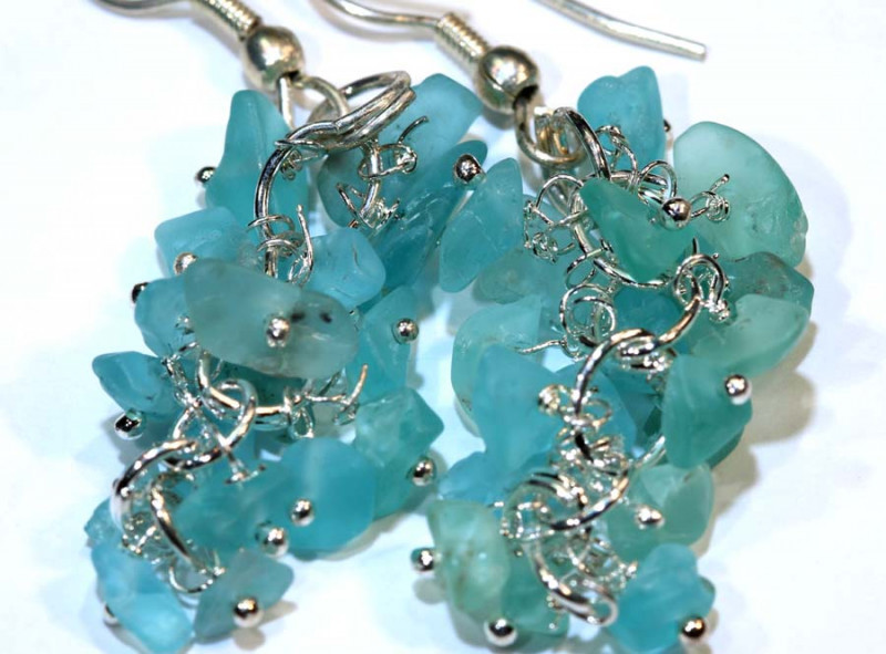 49.95CTS APATITE EARRINGS NEON BLUE UNTREATED SG-2308