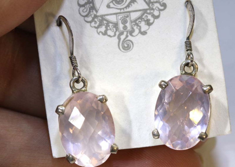 25.65 CTS ROSE QUARTZ CRYSTAL HOOK EARRINGS SG-2366