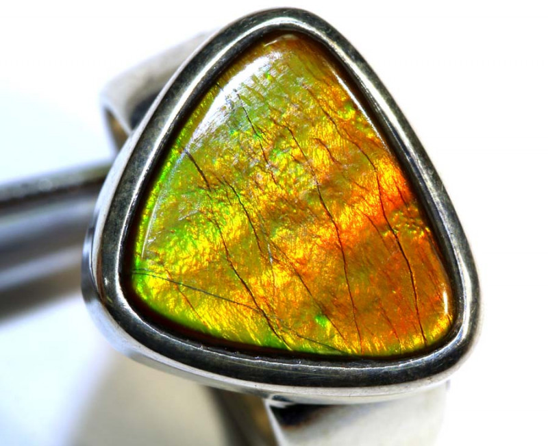 37.45 CTS RING SIZE 7 BRIGHT AMMOLITE SILVER RING SG-2420