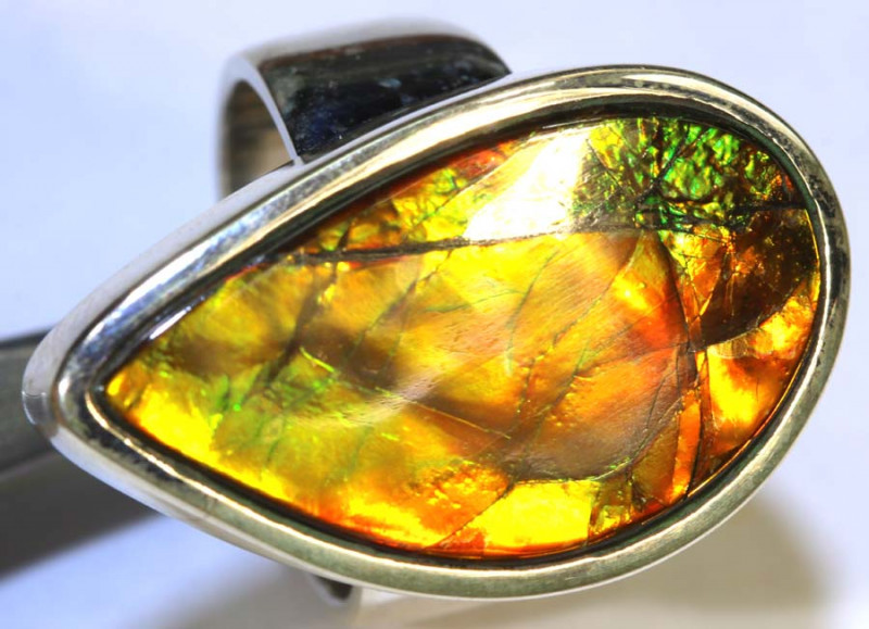 59.9 CTS RING SIZE 7.5 BRIGHT AMMOLITE SILVER RING SG-2422