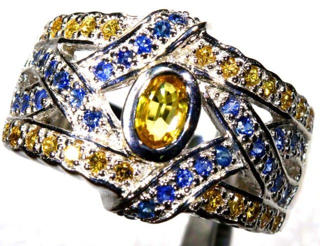 44.20 CTS CITRINE AND TOPAZ SILVER RING SG-2451
