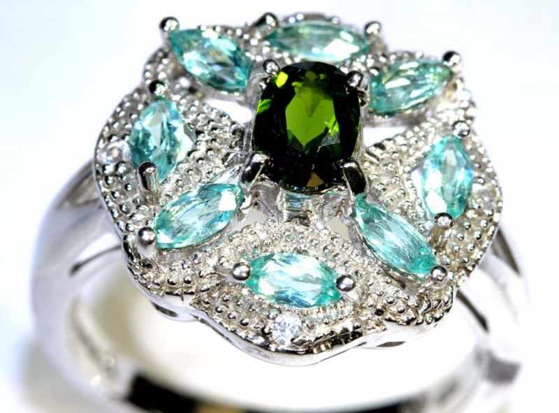 30.70 CTS APATITE AND CHROME DIOPSIDE SILVER RING SG-2479