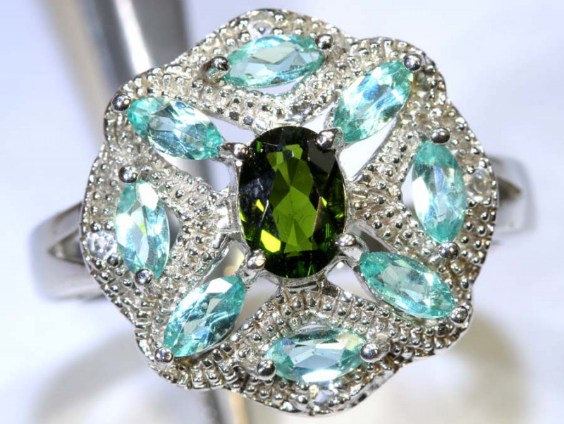 32 CTS APATITE AND CHROME DIOPSIDE SILVER RING SG-2483