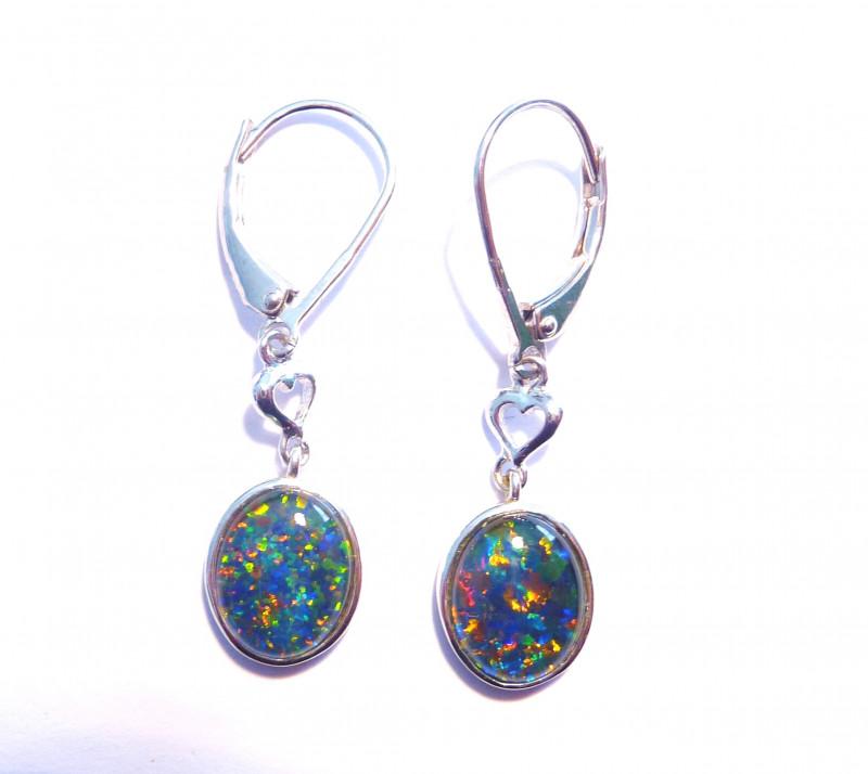 c437592f91253 Beautiful Australian Gem Opal and Sterling Silver Earrings (3314)