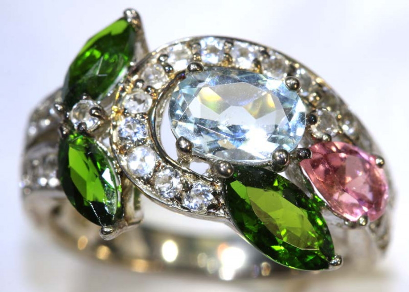 19.2CTS TOPAZ QUARTZ AND DIOPSIDE SILVER RING SG-2520