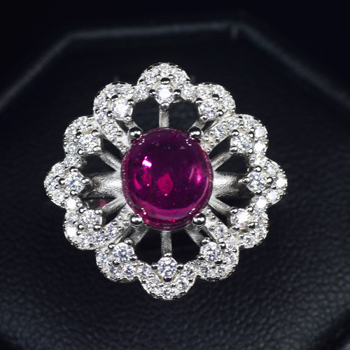 Natural Rubellite Cabochon Silver Ring With Cubic Zircon