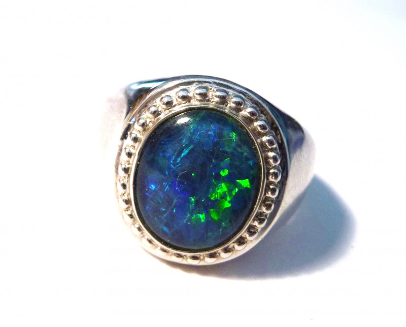 Stunning Australian Opal and Sterling Silver Ring  Size Q or 8