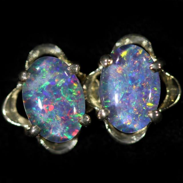 Modern  Cute   Oval  Opal Triplet Earring OPJ 2028