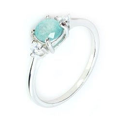 Natural Grandidierite Silver Ring With Cubic Zircons