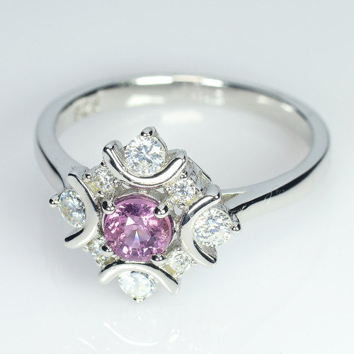 Natural Un Treated Burma Spinel Silver Ring With Cubic Zircons