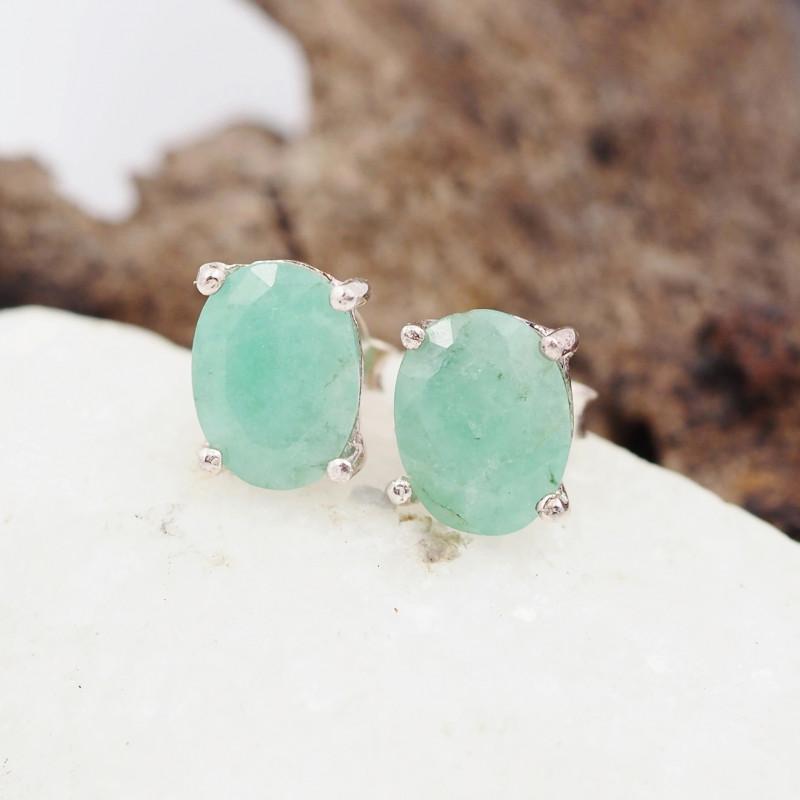 Natural jade  Silver Earrings  AM 1222