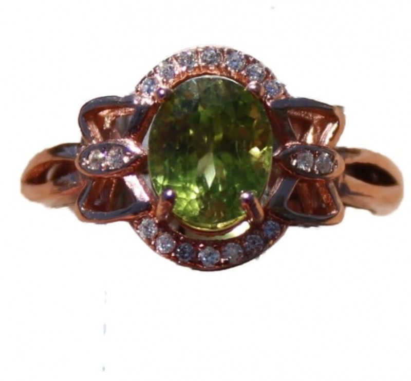 Peridot 1.40ct, Rose Gold Ring, Natural, Untreated, Oval, VVS Clarity, Bran