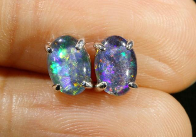 Cute Triplet Opal 18k White Gold Earrings SB 736