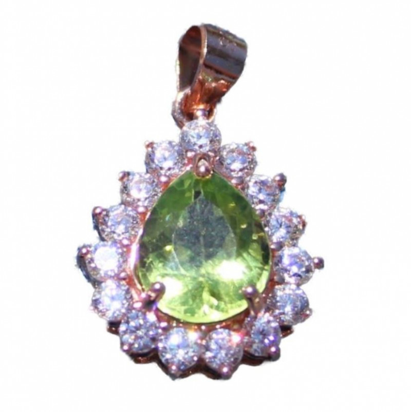 Peridot 1.55ct, Rose Gold Pendant, Natural, Untreated, Pear, VS Clarity, Br