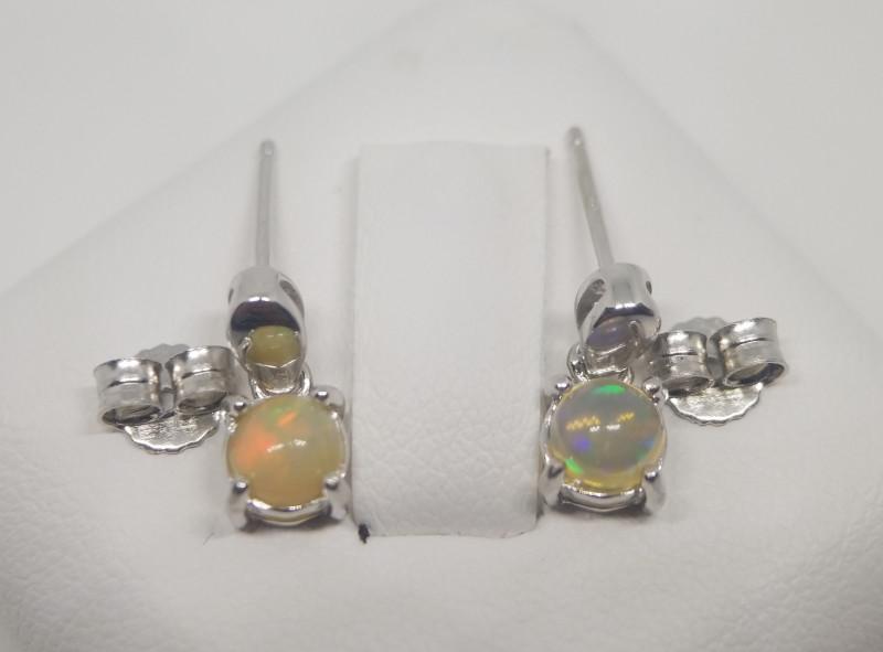 Natural Opal Silver Earrings