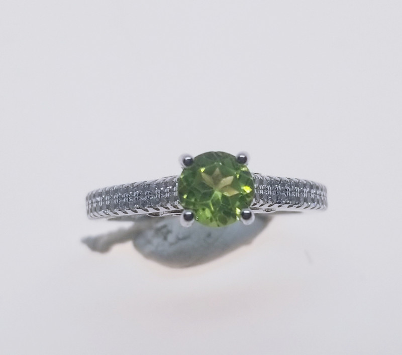 Natural Green Peridot Silver Ring With Cubic Zircons