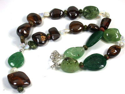 Opal Ironstone and Gemstone n Pearl  necklace  EM570