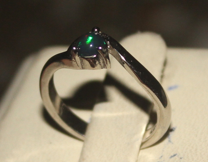 Natural Ethiopian Welo Smoked Opal 925 Silver Ring Size (4/5 US) 68