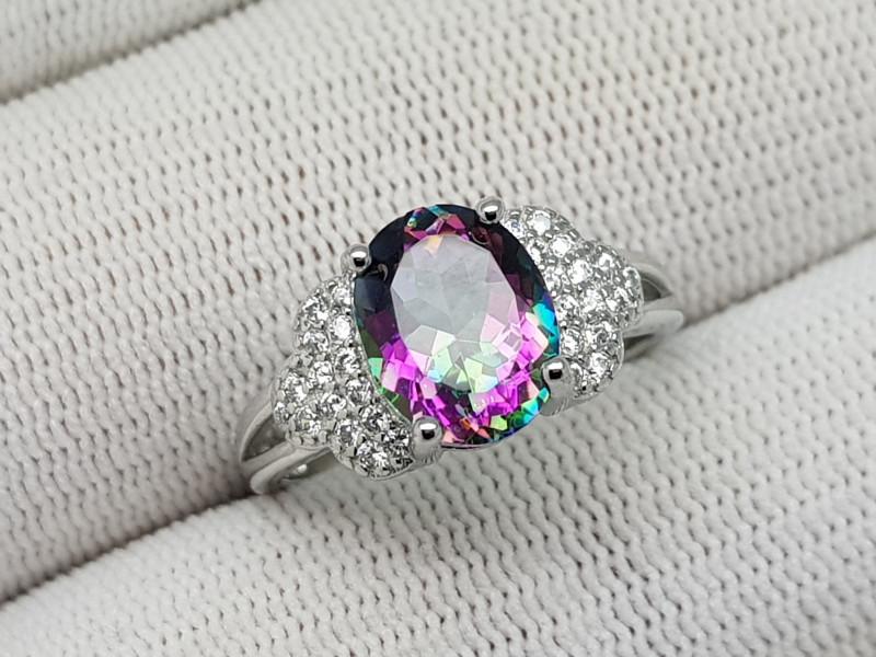 Mystic Topaz 17.45 Carats 925 Silver Ring