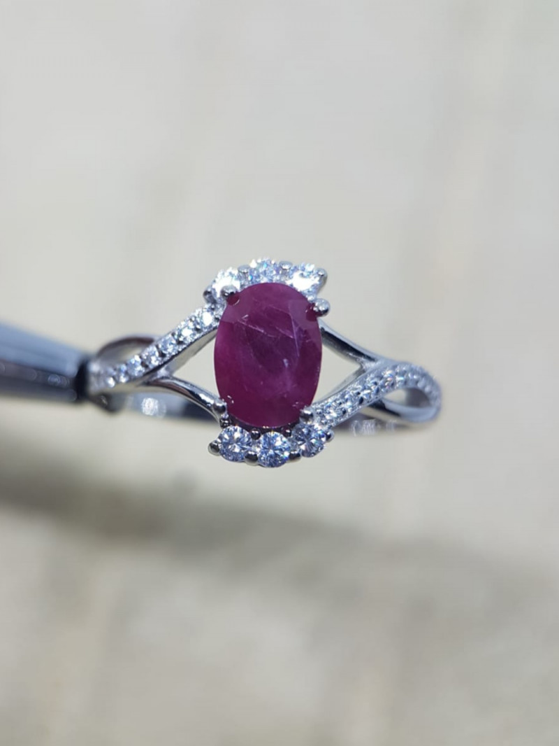 Natural Heated Burma Ruby Silver Ring With Cubic Zirconia