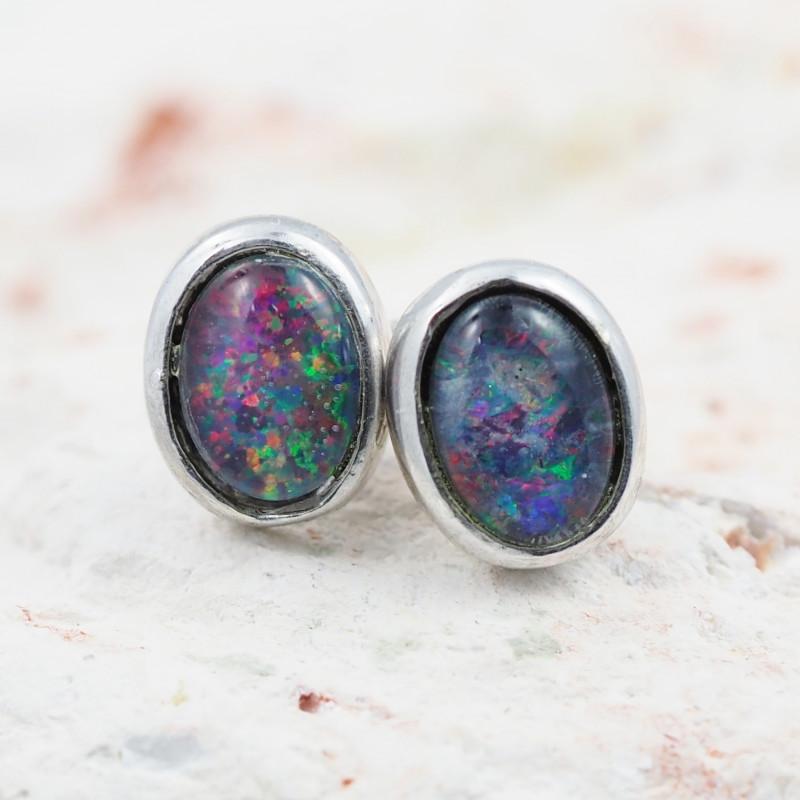 Australian Opal  Triplet Silver Earring  OPJ 2225