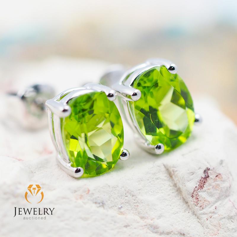 10 KW White Gold Peridot Earrings - 53 - E E9659 1550