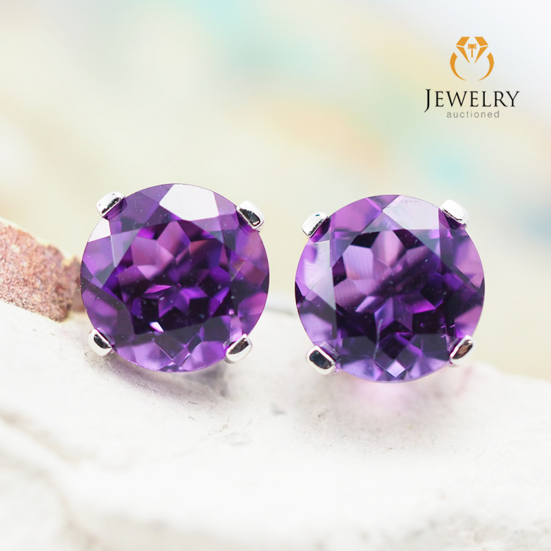 10 KW White Gold Amethyst Earrings - 54 - E E4046 1150