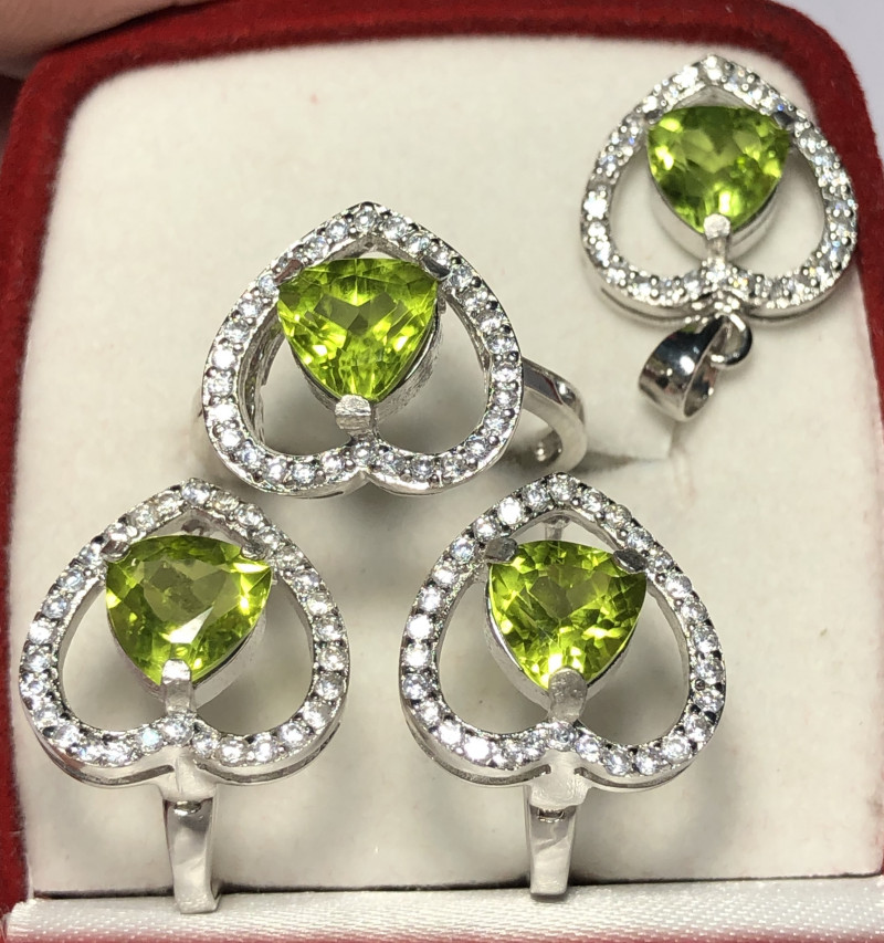 Natural Peridot With CZ 925 Silver Full Set Ring,Earrings,Necklace
