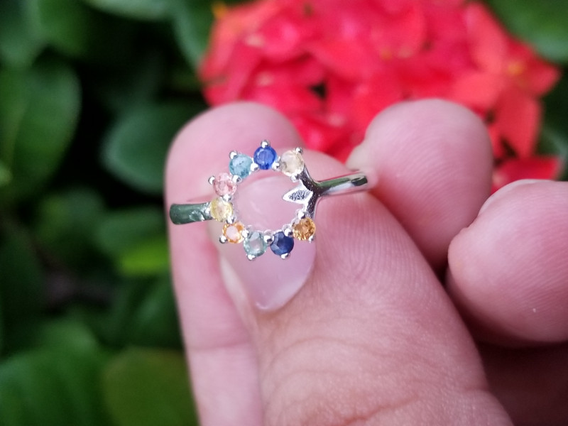 Fancy Multi Mix Color Natural Sapphire Perfect Silver Ring