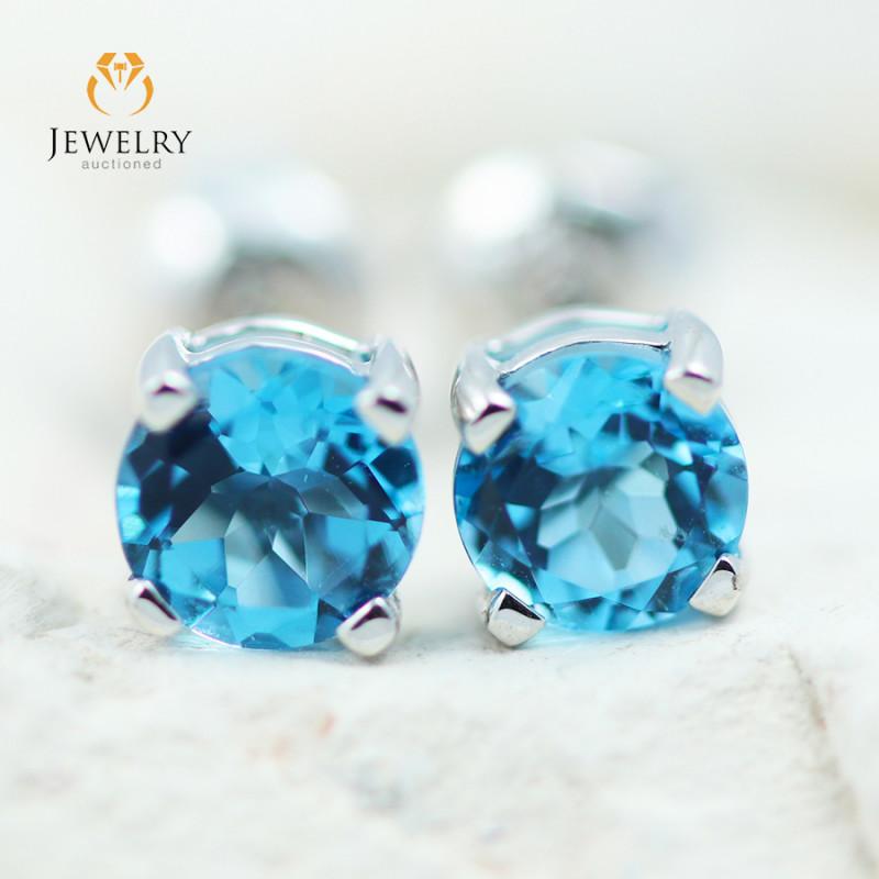 14K White Gold Blue Topaz Earrings - 106 - E E4046 1150 TOPAZ