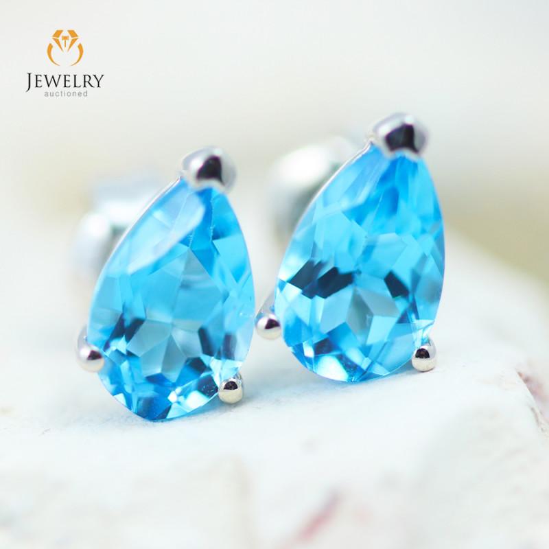 14K White Gold Blue Topaz Earrings - 126 - E E11774 1300